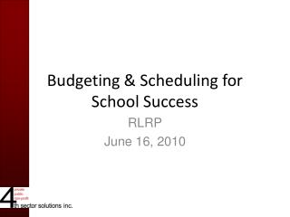 Budgeting & Scheduling for School Success