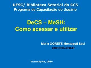 DeCS – MeSH: Como acessar e utilizar