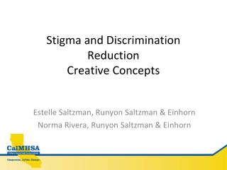Stigma and Discrimination Reduction Creative Concepts