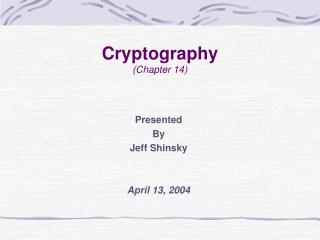 Cryptography (Chapter 14)