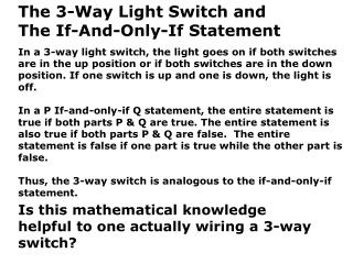 The 3-Way Light Switch and  The If-And-Only-If Statement