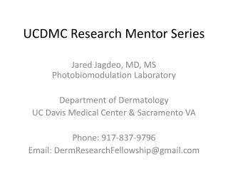 UCDMC Research Mentor Series