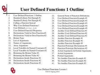 User  Defined Functions 1 Outline