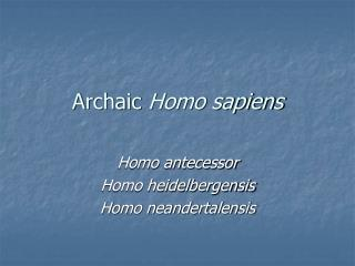 Archaic  Homo sapiens