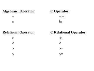 Algebraic  Operator C Operator == =           =!= Relational Operator C Relational Operator > > <
