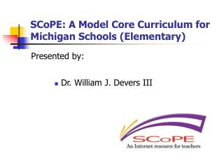 SCoPE: A Model Core Curriculum for Michigan Schools (Elementary)