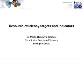 Resource efficiency targets and indicators