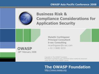 Business Risk &  Compliance Considerations for Application Security