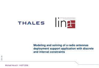 Modeling and solving of a radio antennas deployment support application with discrete and interval constraints