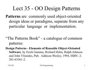 Lect 35 - OO Design Patterns