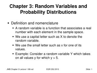 Chapter 3: Random Variables and Probability Distributions