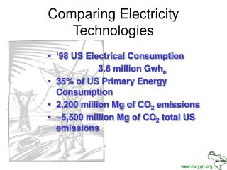 Comparing Electricity Technologies