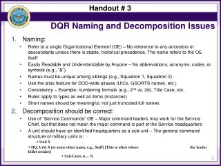 DQR Naming and Decomposition Issues