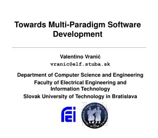 Towards Multi-Paradigm Software Development