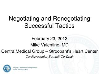 Negotiating and Renegotiating  Successful Tactics