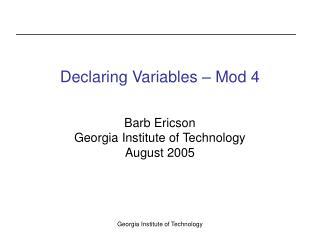 Declaring Variables – Mod 4