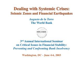 Dealing with Systemic Crises:  Seismic Zones and Financial Earthquakes