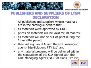 PUBLISHERS AND SUPPLIERS OF LTSM DECLARATION