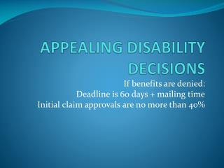 APPEALING DISABILITY DECISIONS