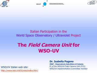 Italian  Part i cipation  in the  World Space Observatory / Ultraviolet Project