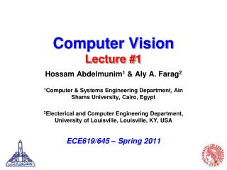 Computer Vision Lecture #1