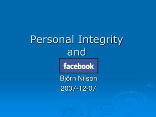 Personal Integrity and