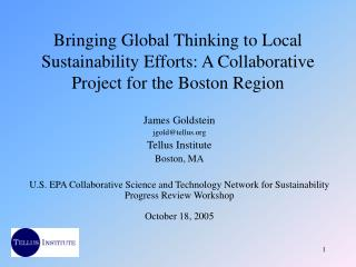 Bringing Global Thinking to Local Sustainability Efforts: A Collaborative Project for the Boston Region