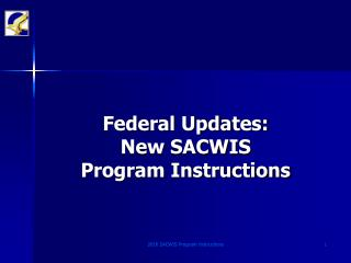 Federal Updates: New SACWIS  Program Instructions