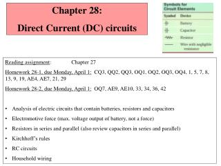 Chapter  28:   Direct Current (DC) circuits