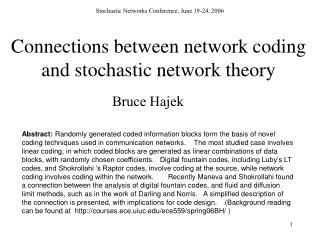 Connections between network coding and stochastic network theory