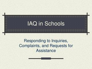 IAQ in Schools