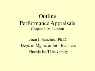 Outline Performance Appraisals Chapter 6, M. London