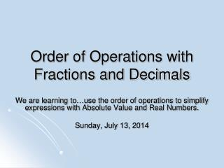 Order of Operations with Fractions and Decimals