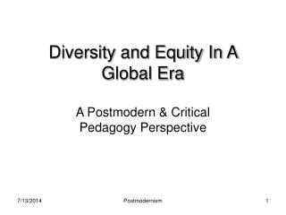 Diversity and Equity In A Global Era