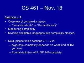 CS 461 – Nov. 18