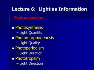 Lecture 6:  Light as Information
