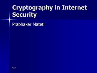 Cryptography in Internet Security