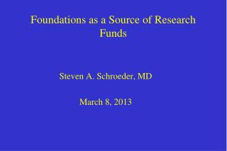 Foundations as a Source of Research Funds