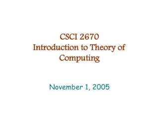 CSCI 2670 Introduction to Theory of Computing
