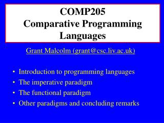 COMP205 Comparative Programming Languages