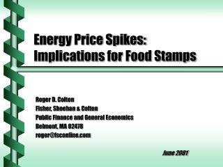 Energy Price Spikes: Implications for Food Stamps