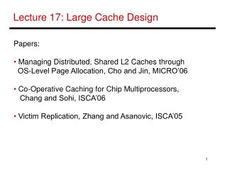 Lecture 17: Large Cache Design