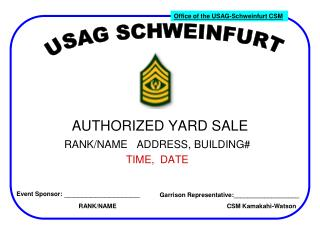 AUTHORIZED YARD SALE