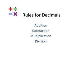 Rules for Decimals
