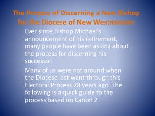 The Process of Discerning a New Bishop for the Diocese of New Westminster