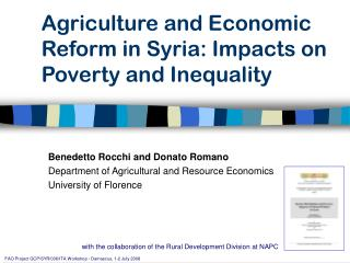 Agriculture and Economic Reform in Syria: Impacts on Poverty and Inequality