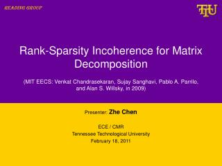 Rank-Sparsity Incoherence for Matrix Decomposition