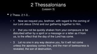 2 Thessalonians (Lesson 3)