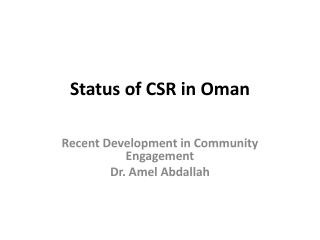 Status of CSR in Oman