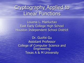 Cryptography Applied to Linear Functions